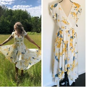 Lulus French Countryside White and Yellow Dress
